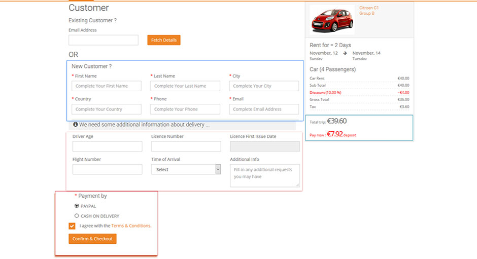 rent a car booking system